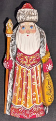 AN AMAZING HAND CARVED & HAND PAINTED RUSSIAN LINDEN WOOD SANTA CLAUS #7627