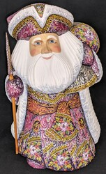 UNBELIEVEABLE HAND PAINTED PURPLE/RASPBERRY RUSSIAN SANTA w/FLORAL CLOAK #8447