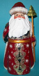 Marvelous Santa Claus w/ Flowing Beard #8926 – Hand Painted Golden Uzor Statue