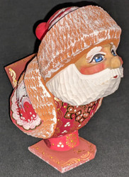 FUN LITTLE SANTA SKIER / SKATER HAND CARVED & PAINTED RUSSIAN SANTA CLAUS #5302