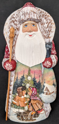 BEAUTIFUL RUSSIAN HAND PAINTED SANTA CLAUS – YOUNG SWEETHEARTS IN THE SNOW #4320