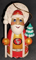 WOW! HAND CRAFTED SAN FRANCISCO 49ERS WOODEN SANTA CLAUS TREE ORNAMENT