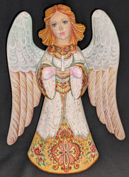 WOW! UNBELIEVABLE GREEN & WHITE HAND PAINTED WOODEN ANGEL STATUE #2531 w/CANDLE