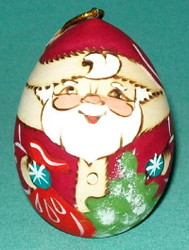 HAND PAINTED EGG SHAPED RUSSIAN SANTA CLAUS TREE ORNAMENT