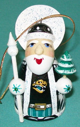 WOW! HAND CRAFTED JACKSONVILLE JAGUARS WOODEN SANTA CLAUS TREE ORNAMENT