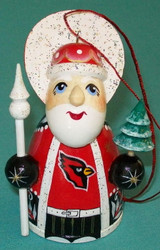 WOW! HAND CRAFTED ARIZONA CARDINALS WOODEN SANTA CLAUS TREE ORNAMENT