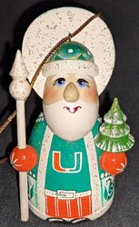 WOW! HAND CRAFTED UNIVERSITY OF MIAMI HURRICANES WOODEN SANTA CLAUS TREE ORNAMENT