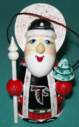 WOW! HAND CRAFTED ATLANTA FALCONS WOODEN SANTA CLAUS TREE ORNAMENT