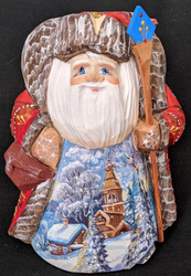 DELIGHTFUL SCENIC HANDPAINTED RUSSIAN SANTA 1308 CHURCH w/TRADITIONAL ONION DOME