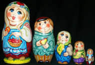 WHIMSICAL RUSSIAN FAMILY 5 PIECE MATRYOSHKA NESTING SET #8100 FLORAL HEADDRESS