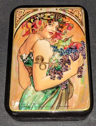 LOVELY MAIDEN - RUSSIAN HANDPAINTED MOTHER OF PEARL LACQUER BOX #0636