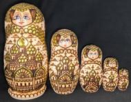 GOLDEN ONION DOMES ON RUSSIAN ORTHODOX CHURCHES-5PC MATRYOSHKA NESTING DOLL 1003