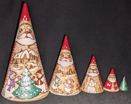 HANDPAINTED ETCHED SCENIC SANTA NESTING SET – SNOWMEN PLAYING IN THE SNOW #0316