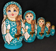 RUSSIAN HAND PAINTED 5PC ETCHED NESTING DOLL - GREEN/TEAL #7601