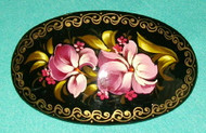 ROSE COLORED HAND CRAFTED RUSSIAN PAPIER MACHE BARRETTE #3279