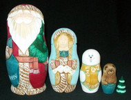 STUNNING HAND CARVED RUSSIAN 5PC WATERCOLOR SANTA FAMILY NESTING DOLL #4661