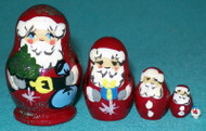 A FUN LITTLE 5 PC MINIATURE SANTA CLAUS RUSSIAN NESTING SET #0018