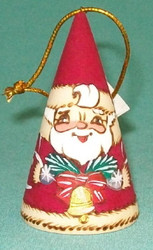 HANDPAINTED RUSSIAN CONE SHAPED SANTA CLAUS TREE ORNAMENT #9821 w/BELLS & BOUGHS