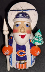 WOW! HAND CRAFTED CHICAGO BEARS WOODEN SANTA CLAUS TREE ORNAMENT