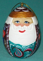 TRADITIONAL EGG SHAPED RUSSIAN HANDPAINTED WOODEN Santa Egg Ornament