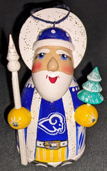 WOW! HAND CRAFTED LOS ANGELES RAMS WOODEN SANTA CLAUS TREE ORNAMENT