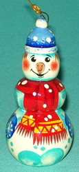 HAND PAINTED BRIGHTLY COLORED FUN LITTLE RUSSIAN SNOWMAN TREE ORNAMENT