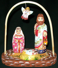 LOVELY HAND CARVED & HAND PAINTED RUSSIAN NATIVITY SET - HOLY FAMILY #0564