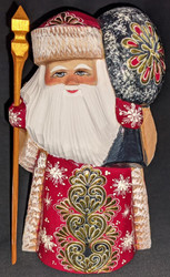 GOLDEN FLORAL DESIGN w/TOY BAG #3722 HAND CARVED RUSSIAN GOLDEN UZOR SANTA CLAUS