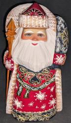 GOLDEN FLORAL DESIGN w/TOY BAG #9191 HAND PAINTED RUSSIAN WOODEN UZOR SANTA