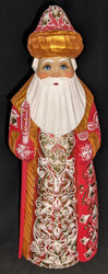 HANDPAINTED BRIGHT SHINY RUSSIAN LINDEN WOOD SANTA CLAUS #5867 - GOLD & RED