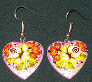 HAND CRAFTED YELLOW ROSE RUSSIAN PAPIER MACHE EARRINGS #7764