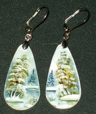 MOTHER OF PEARL HAND PAINTED TEARDROP RUSSIAN EARRINGS #2976