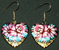 BEAUTIFUL PINK, PURPLE & GOLD HAND PAINTED RUSSIAN PAPIER MACHE EARRINGS #7771