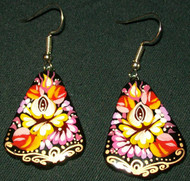 FLORAL YELLOW, ORANGE,& PURPLES HAND CRAFTED RUSSIAN EARRINGS #7763