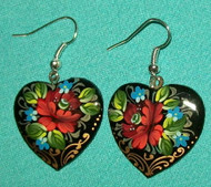 LOVELY HANDPAINTED MAUVE / BURGUNDY HEART SHAPED RUSSIAN EARRINGS #7765