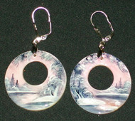 MOTHER OF PEARL HAND PAINTED PINK & GREY EARRINGS #2974