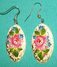BEAUTIFUL PASTEL PINK ROSE HAND CRAFTED RUSSIAN EARRINGS #7768