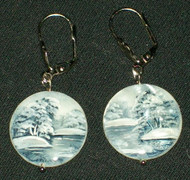 MOTHER OF PEARL HAND PAINTED ROUND RUSSIAN EARRINGS #2983 BLUE & WHITE
