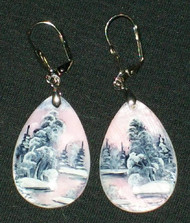 MOTHER OF PEARL HAND PAINTED RUSSIAN EARRINGS #2995 PINK & GREY