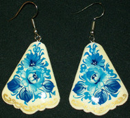 WOW! FAN SHAPED BLUE & WHITE RUSSIAN HAND CRAFTED EARRINGS #7788