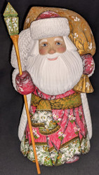 LOVELY HAND CARVED & HAND PAINTED LINDEN WOOD SANTA CLAUS w/FLORAL CLOAK #0863