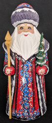 DELIGHTFUL BLUE & RED HAND PAINTED RUSSIAN SANTA CLAUS w/ CHRISTMAS TREE #1656
