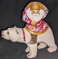 BEAUTIFUL SANTA CLAUS ON A POLAR BEAR – HAND PAINTED RUSSIAN WOODEN STATUE #4749