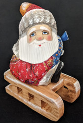 Fun Little Santa on Sled - Hand Painted Russian Linden Wood Santa Claus #5929