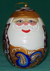 BLUE & GOLD HAND CARVED EGG SHAPED RUSSIAN CHRISTMAS TREE ORNAMENT