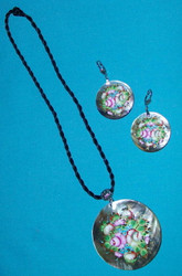 Handpainted Brilliant Russian Mother of Pearl Earrings & Necklace Set #3015