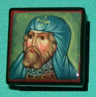 BLUE SHROUDED  MEDIEVAL SOLDIER - RUSSIAN LACQUER BOX #0107