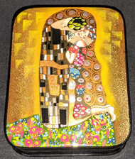 GORGEOUS HAND PAINTED RUSSIAN LACQUER BOX - GUSTAV KLIMT, THE KISS #5505