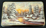 STUNNING  RUSSIAN MOTHER OF PEARL LACQUER BOX #2000 GOLDEN SUNSET & WINTER CABIN