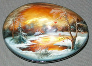 MOTHER OF PEARL HAND PAINTED FEDOSKINO RUSSIAN LACQUER BOX - GOLDEN SUNSET #4446